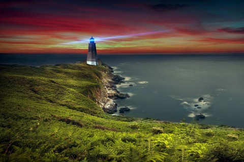 唯美海边灯塔