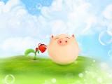 给花浇水的小猪