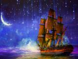 月光下的帆船