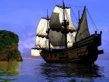 海上巨大的帆船
