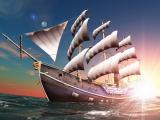 夕阳下的巨大帆船
