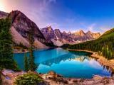 群山围绕下的湖泊