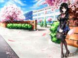 樱花树下的动漫女生