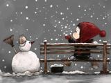 雪中的亲亲木朵