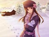 在雪地里的动漫女孩