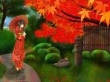 枫树下的和服女孩