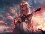 弹吉他的动漫女生